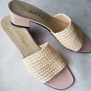Jack Rogers pink cream leather slip on sandals 8.5